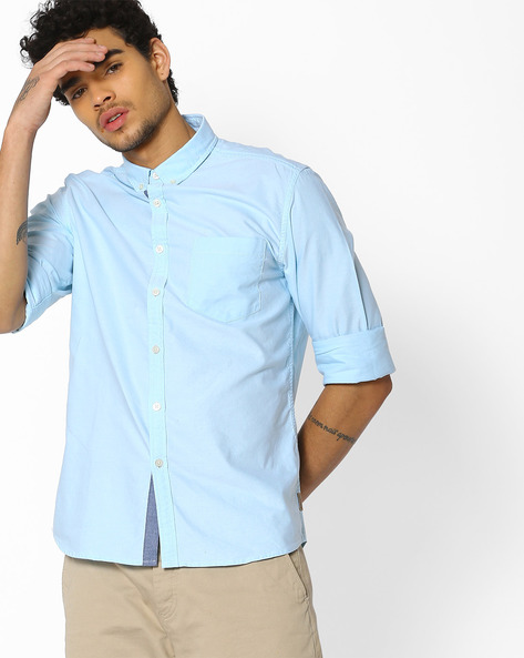 Cotton Shirt With Button-Down Collar By FLYING MACHINE ( Sblue )