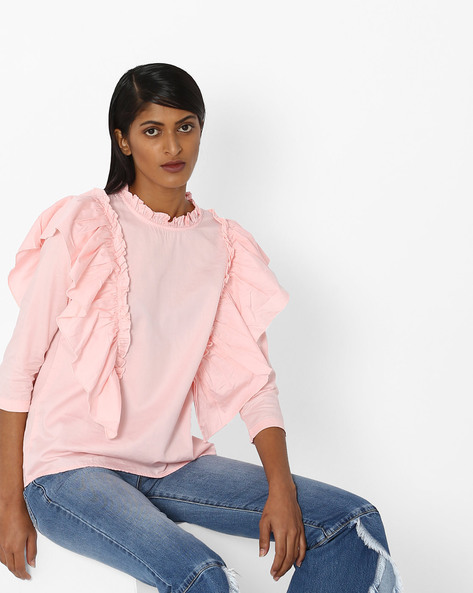 Crew-Neck Top With Ruffles By Evah London ( Pink )