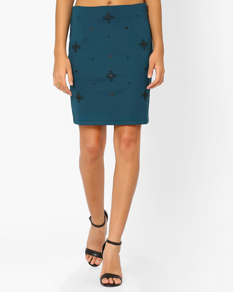 Pencil Skirt With Embellishments By AJIO ( Green )