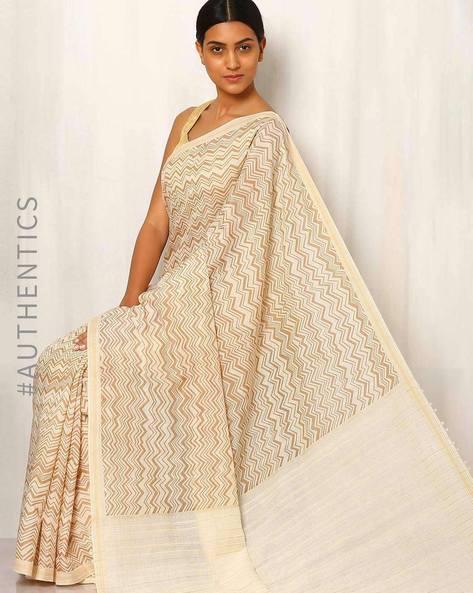 Printed Cotton Silk Saree With Ghicha Pallu By Rudrakaashe-MSU ( Multi )
