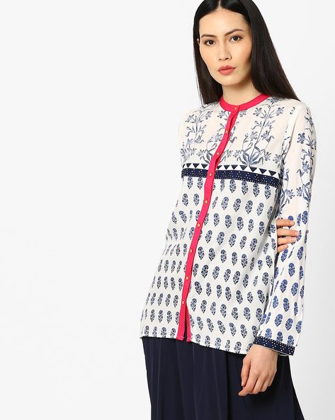 Floral Print Tunic With Button Placket By W ( White )
