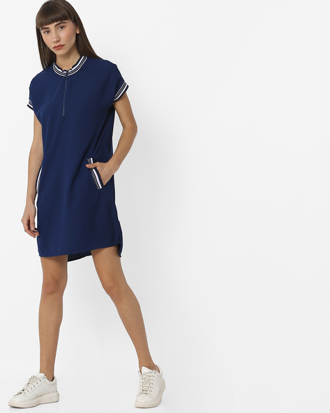 High-Low Shift Dress With Ribbed Hems By Teamspirit ( Navy )