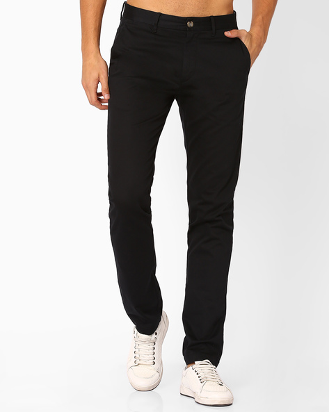 Slim Flat-Front Trousers By US POLO ( Black )