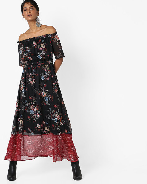 Floral Print Maxi Dress With Bardot Neckline By AJIO ( Black )