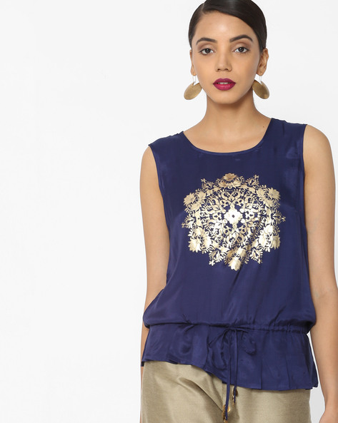 Printed Sleeveless Blouson Top By Akkriti By Pantaloons ( Indigo )
