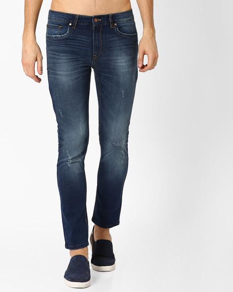 Lightly Distressed Slim Tapered Jeans By AJIO ( Darkblue )