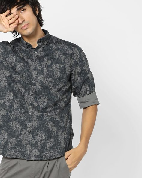 Floral Print Shirt With Patch Pocket By AJIO ( Olive )