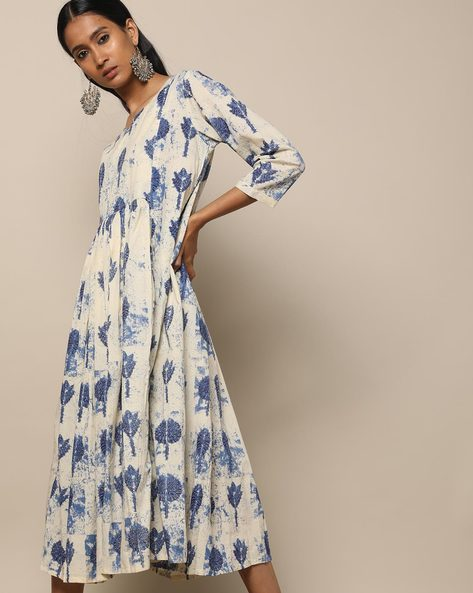 Printed Cotton Gathered Long Dress By Seasons ( Blue )