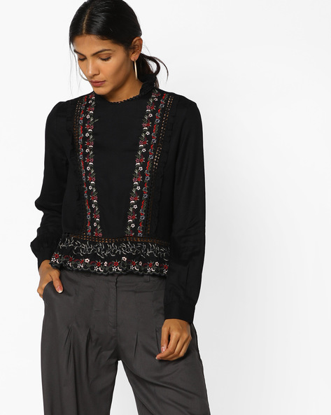 Peplum Top With Floral Embroidery By AJIO ( Black )