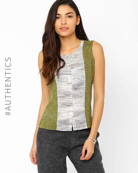 Sleeveless Khadi Top By Red Sister Blue ( Olive )