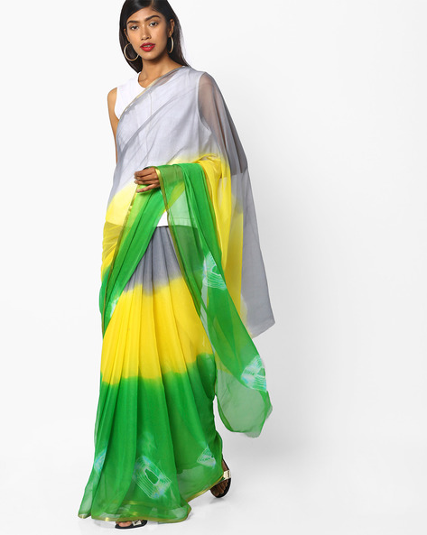 Ombre-Dyed Saree With Zari Border By Ishaya ( Green )
