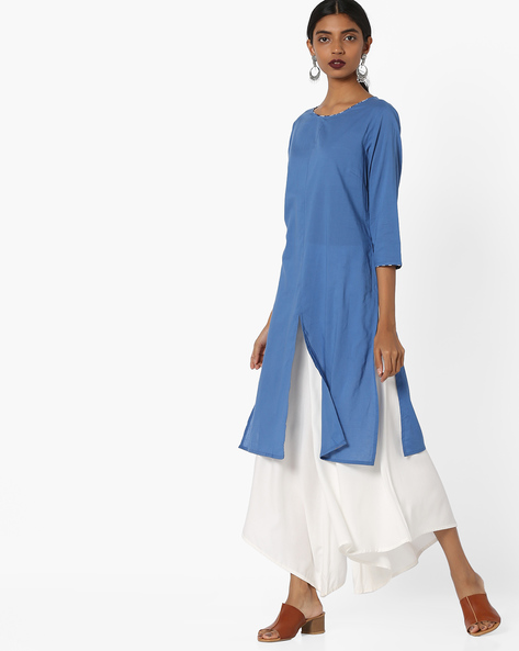 Tunic With Front Slit By AJIO ( Blue ) - 460097292001