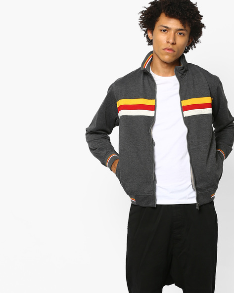 Slim-Fit Pullover With Striped Panels By Nature Casuals ( Charcoal )