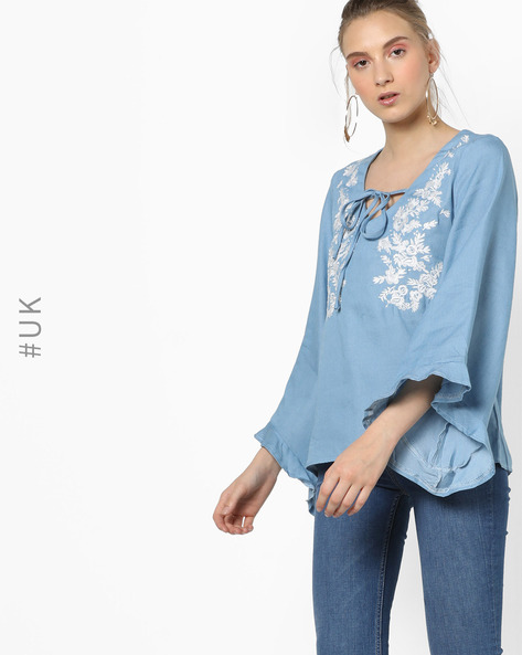 Embroidered Top With Bell Sleeves By OEUVRE ( Blue )