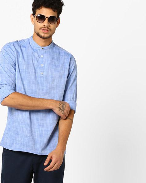 Slub Cotton Shirt Kurta By NETPLAY ( Blue )
