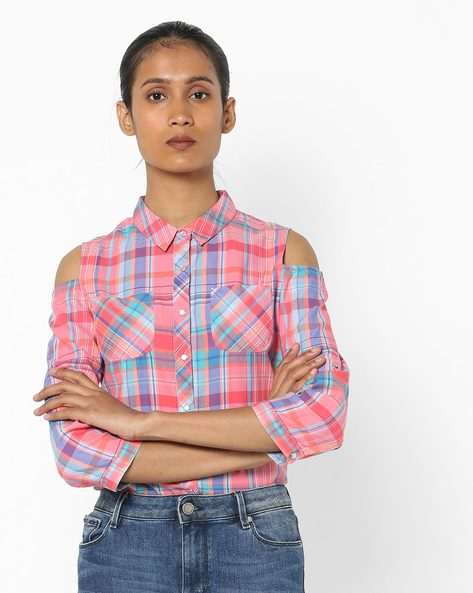 Checked Shirt With Cold-Shoulder Sleeves By KRAUS ( Pink )