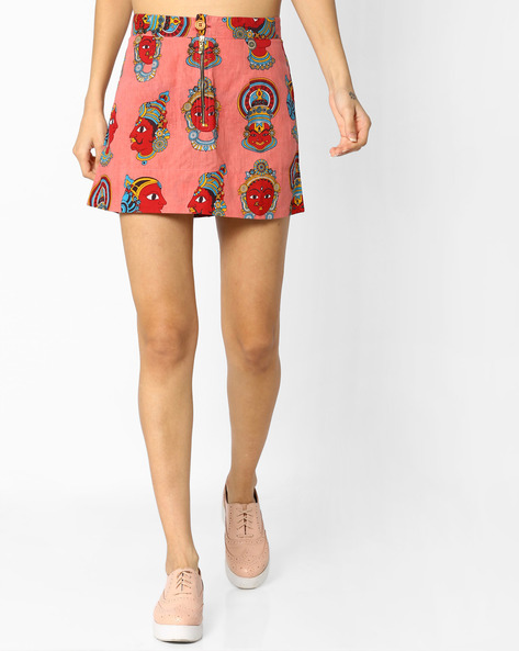 Printed A-line Mini Skirt By Desi Weaves ( Pink )