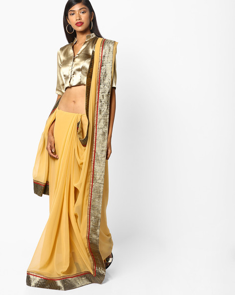 Saree With Embellishments By Majestic Silk ( Yellow )