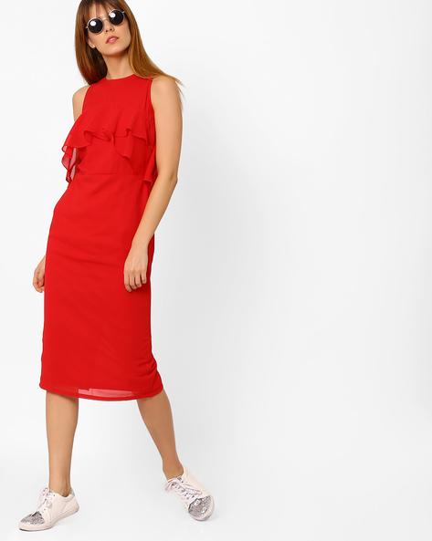 Sleeveless Dress With Ruffles By Femella ( Red )