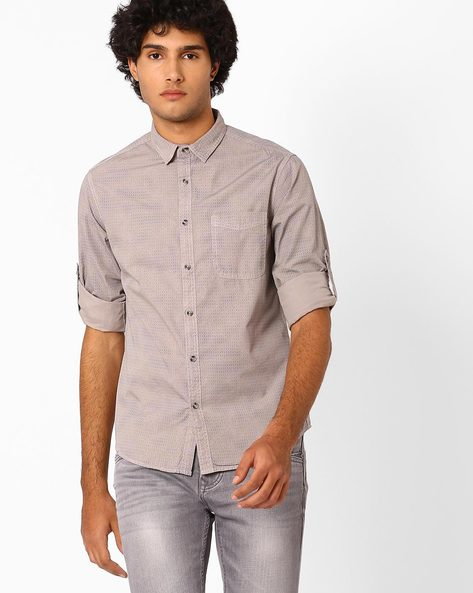 Chevron Print Slim Fit Shirt By AJIO ( Grey )