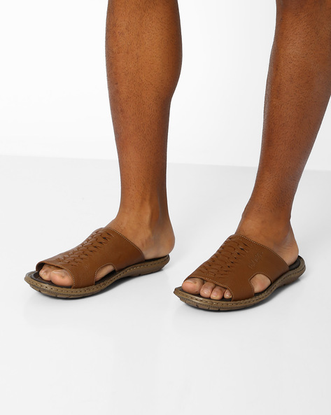 Genuine Leather Flip-Flops By Lee Cooper ( Tan ) - 460059685007