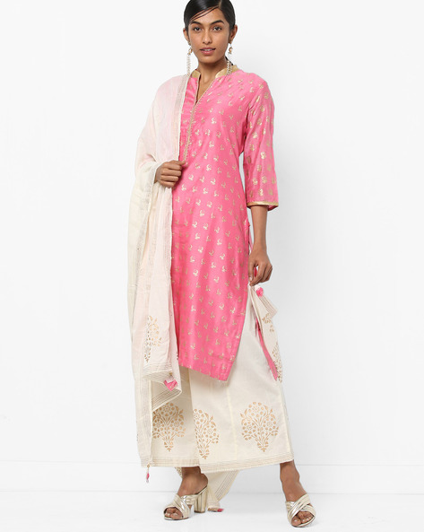 Printed Churidar Kurta With Dupatta By Biba ( Pink )