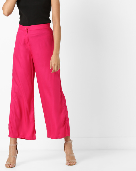 Palazzo Pants With Button Closure By Global Desi ( Pink )