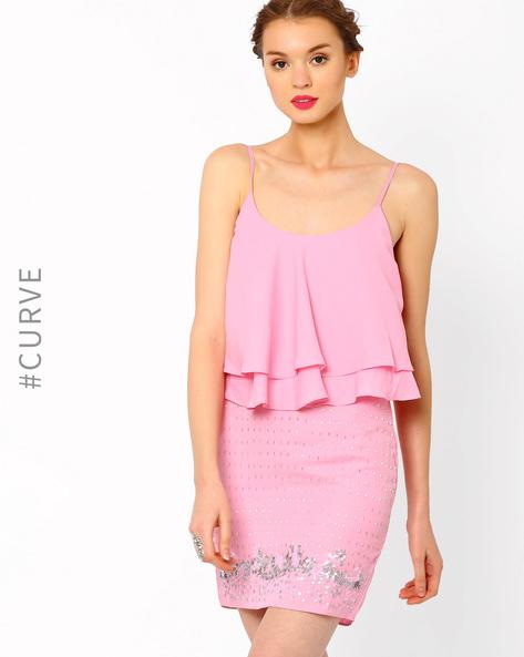 Embellished Blouson Dress By AJIO ( Pink )