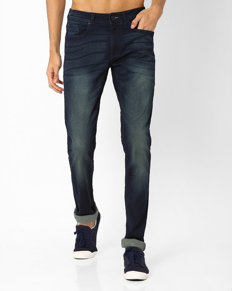 Blade Fit Mid-Rise Stretch Jeans By BASICS ( Blue )
