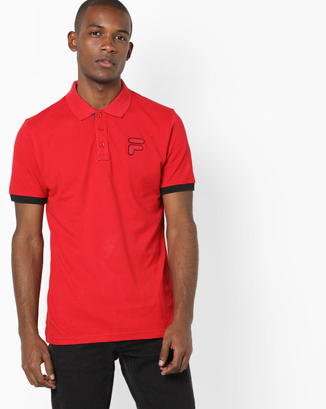 Polo T-shirt With Applique Branding By FILA ( Red )