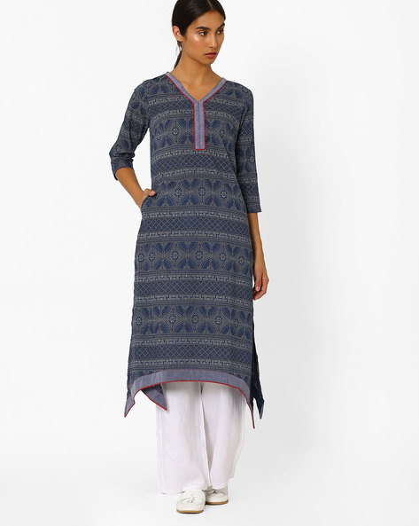 V-neck Kurta With Dipped Hem By AJIO ( Blue )