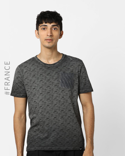 Printed Crew-Neck T-shirt With Washed Effect By Kaporal ( Grey )