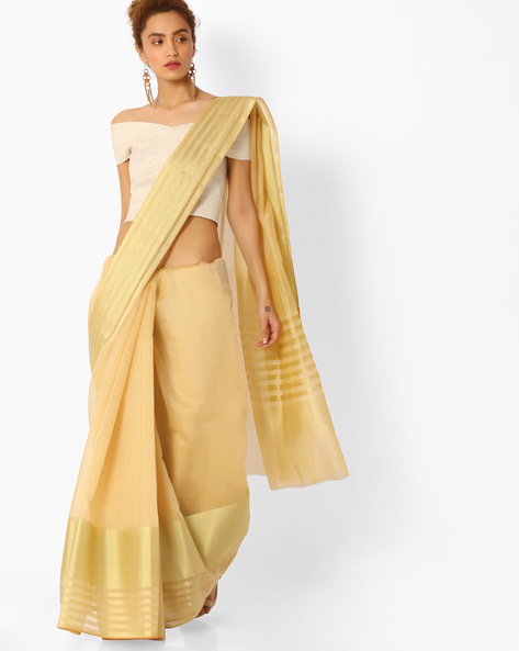 Handloom Saree With Striped Border By SHRIKALA ( Beige )