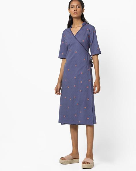 Printed Wrap Dress With Tie-Up By AJIO ( Blue )