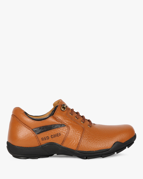 Textured Leather Lace-Up Casual Shoes By RED CHIEF ( Brown )