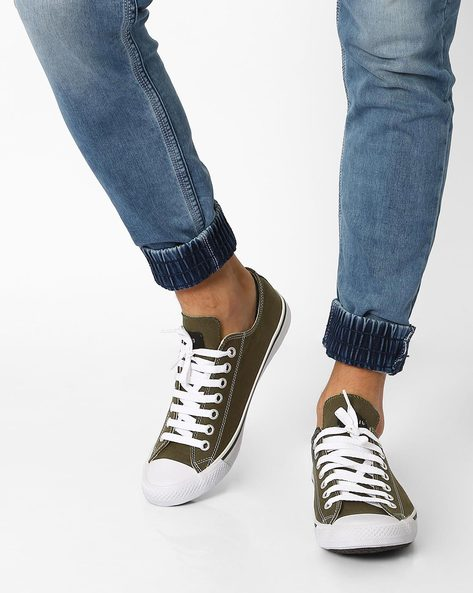 N9-Treated Classic Canvas Sneakers By AJIO ( Olive )
