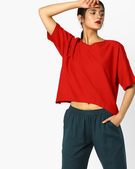 V-neck Top With Asymmetrical Hemline By Project Eve IW Fusion ( Orange )