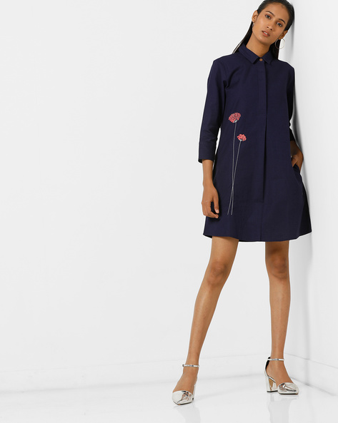 Embroidered Shirt Dress With Inverted Pleat Back By AJIO ( Navy )