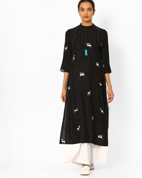 Printed Straight Kurta With Mandarin Collar By W ( Black )