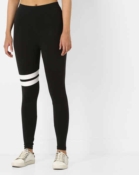 High-Rise Cotton Lycra Leggings By AJIO ( Black )