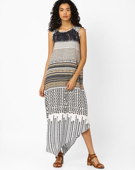Printed Maxi Dress By Global Desi ( White )