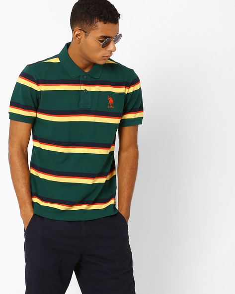 Striped Polo T-shirt With Vented Hemline By US POLO ( Green )