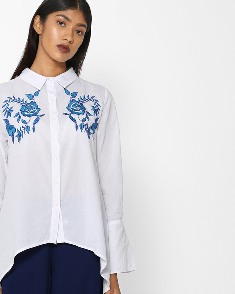 Embroidered Shirt With High-Low Hem By Rena Love ( White )