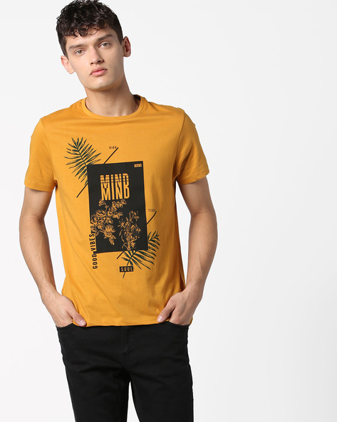 Cotton T-shirt With Graphic Print By AJIO ( Yellow )