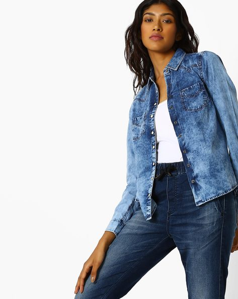 Denim Shirt With Flap Pockets By Pepe Jeans ( Blue )