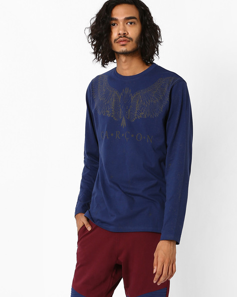 Placement Print T-shirt By Garcon ( Navyblue )