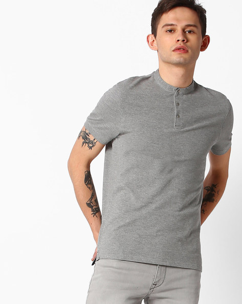 T-shirt With Band Collar By SELECTED ( Gray )