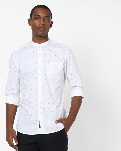 Geometric Print Shirt With Mandarin Collar By NETPLAY ( White )
