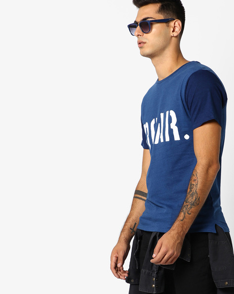 Graphic Print Crew-Neck T-Shirt By ADAMO LONDON ( Indigo )