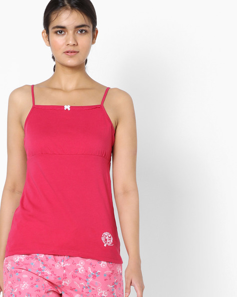 Camisole Top With Adjustable Straps By Enamor ( Red )